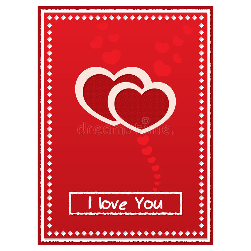 Kort för dag för valentin` s rött med två former av hjärtor vektor illustrationer