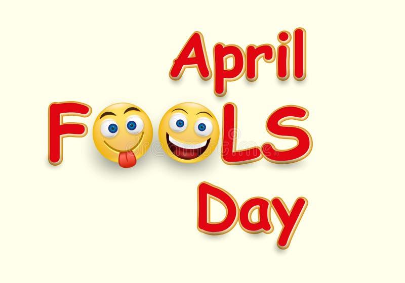 Kort för dag för ` s för April dumbom - galet ansiktsuttryck på gul bakgrund - mall för design för ` s för April dumbom stock illustrationer