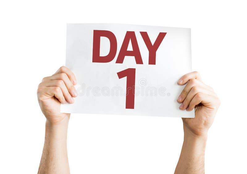 Kort för dag som 1 isoleras på vit bakgrund arkivbild
