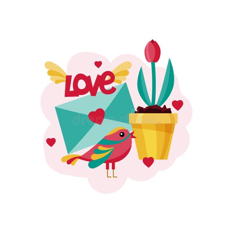 Kort för dag för valentin` s Fåglar, blommor, förälskelsebokstav och hjärtor också vektor för coreldrawillustration stock illustrationer