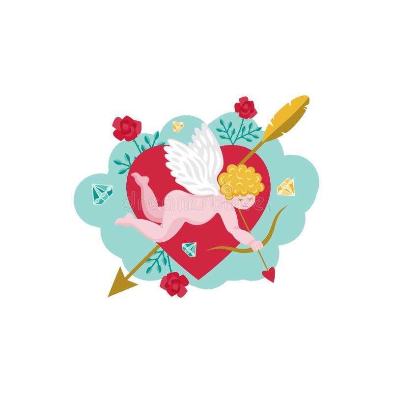 Kort för dag för valentin` s Kupidon med en pilbåge Hjärta med en pil Rosor med taggar också vektor för coreldrawillustration stock illustrationer