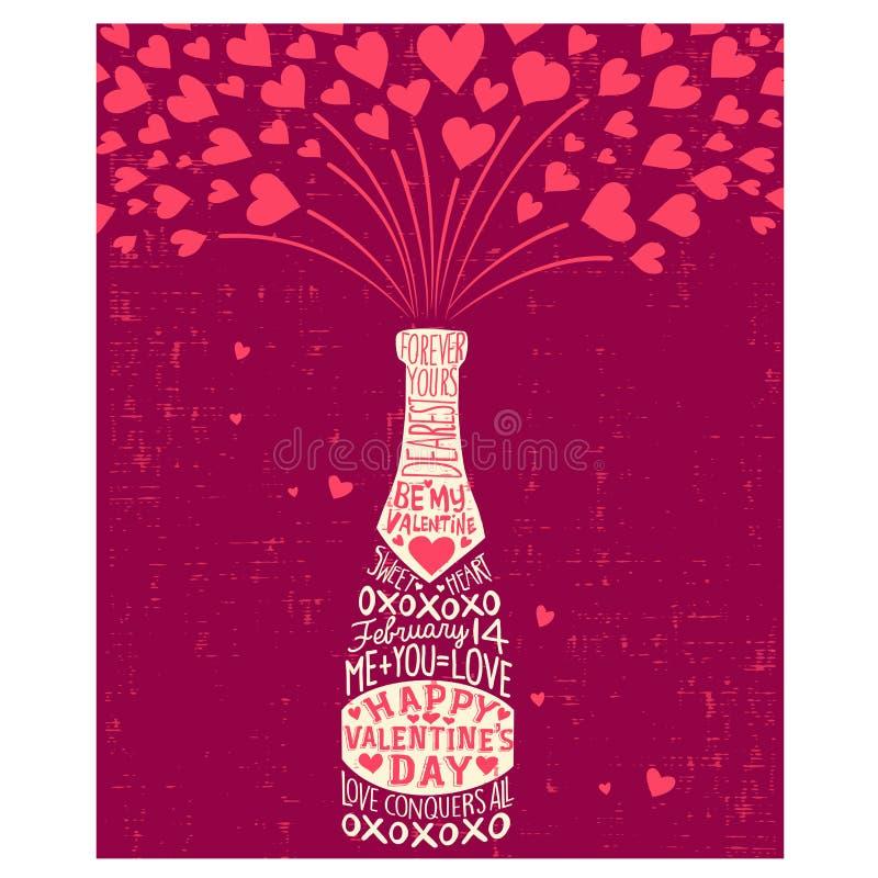Kort för dag för valentin` s med vinflaskan, hjärtor, royaltyfri illustrationer