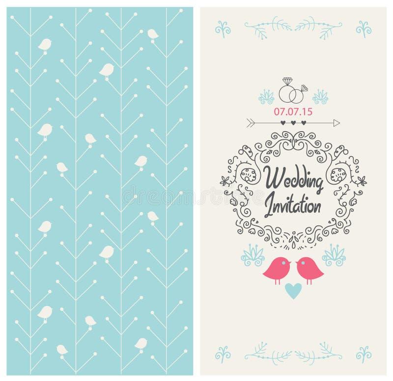 Kort för design för inbjudan för vektortappningbröllop vektor illustrationer