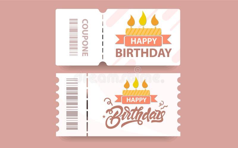 Kort för födelsedagkuponggåva med kupongkod och kakaillustrationen vektor stock illustrationer