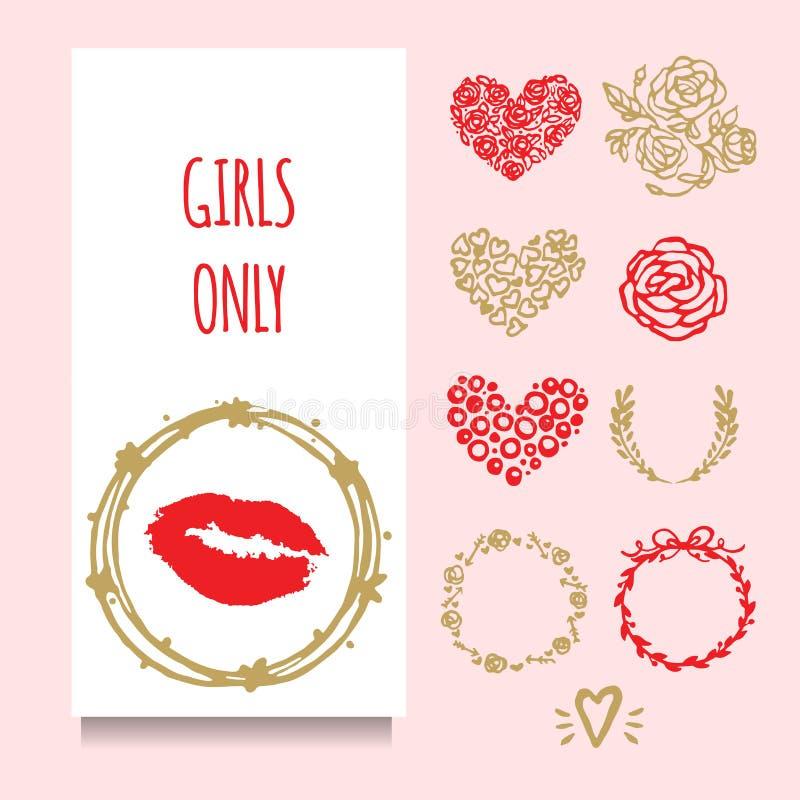 Kort för för vektorpartihälsning eller invintation med den röda lipstic stämpeln i guld- krans Uppsättning av dekorativa bestånds stock illustrationer