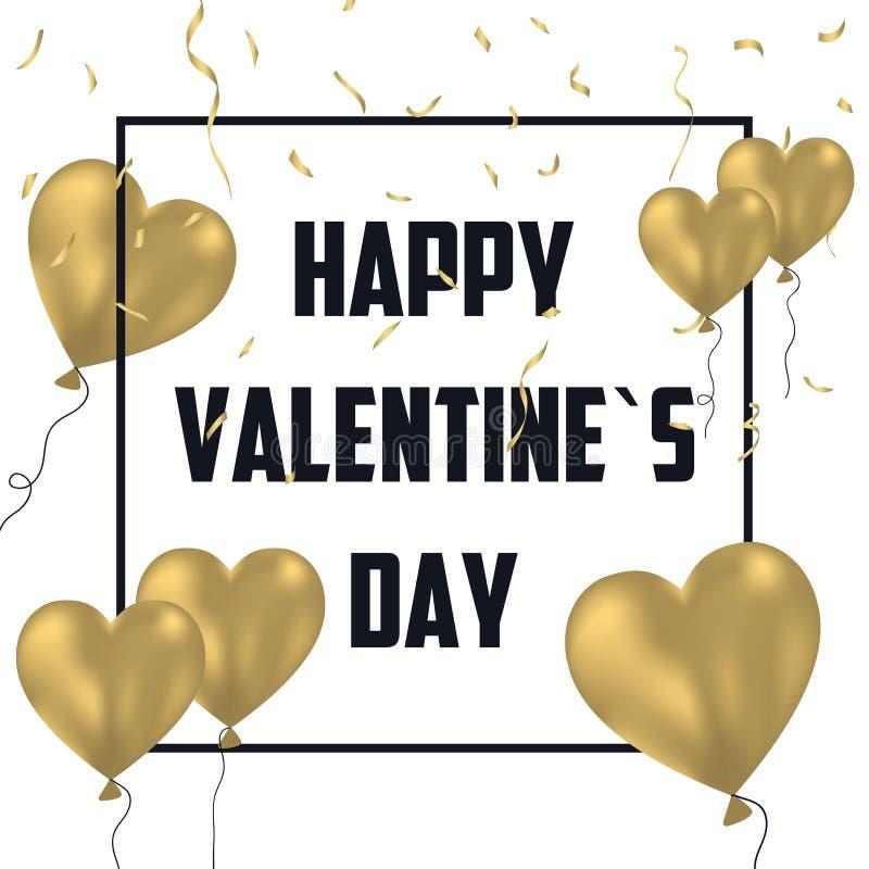 Kort för ferie för dag för valentin` s med guldballonger och guld- konfettier Berömbaner, affisch med ramen och garnering vektor vektor illustrationer