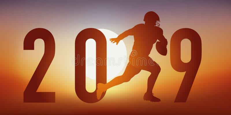 kort för 2019 fotboll-themed hälsningar med en fotbollsspelare i handlingspring in mot mållinjen stock illustrationer