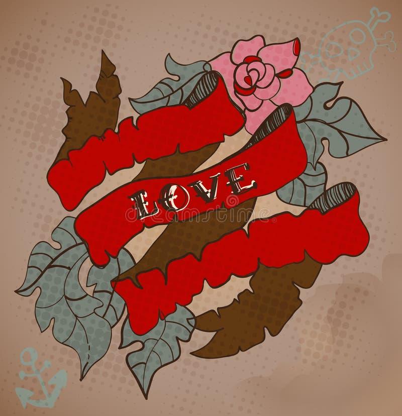 kort för Gammal-skola stiltatuering med blommor och bandet, valentin royaltyfri illustrationer