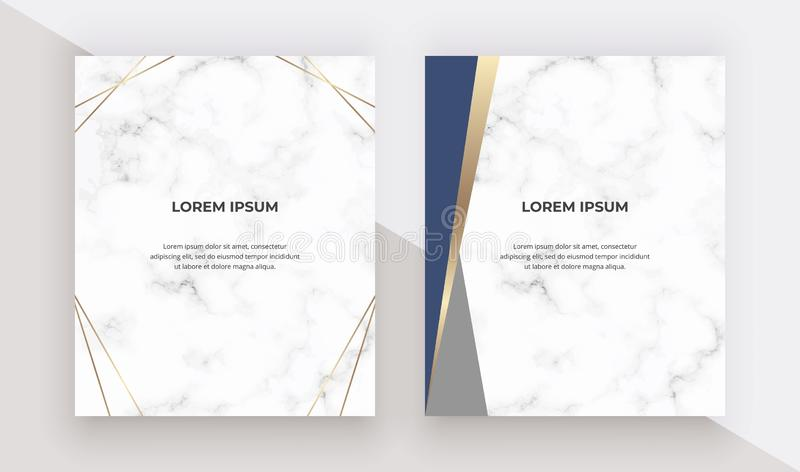 Kort för geometrisk design med blåa och guld- trianglar på marmortexturen Moderna mallar för att gifta sig inbjudan, baner, logo, stock illustrationer