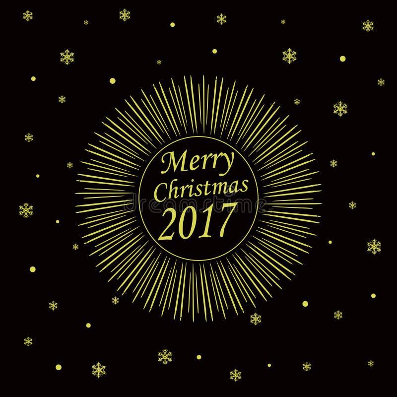 Kort för glad jul 2017 royaltyfri illustrationer