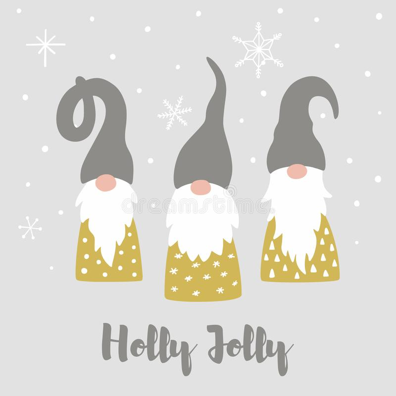 Kort för glad jul med gulliga scandinavian gnomer, snöflingor och text Holly Jolly stock illustrationer