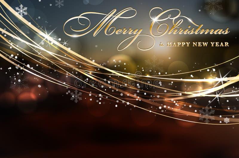 Kort för glad jul och för lyckligt nytt år med kopieringsutrymme vektor illustrationer
