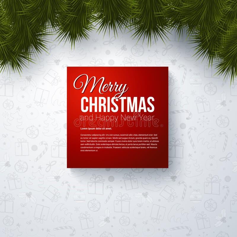 Kort för glad jul och för lyckligt nytt år med realistisk gran. Bruk stock illustrationer