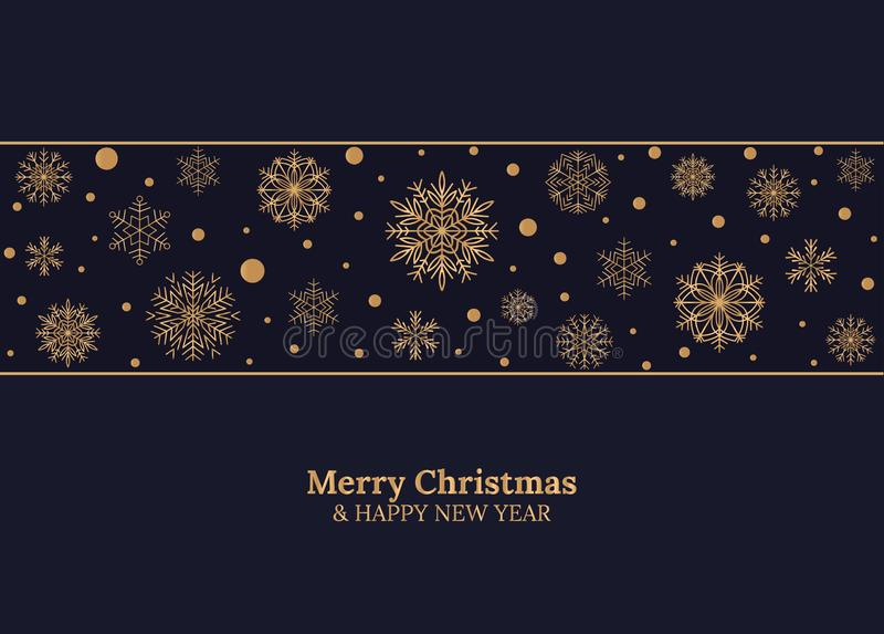 Kort för glad jul och för lyckligt nytt år med guld- snöflingor på mörker - blå bakgrund också vektor för coreldrawillustration g stock illustrationer