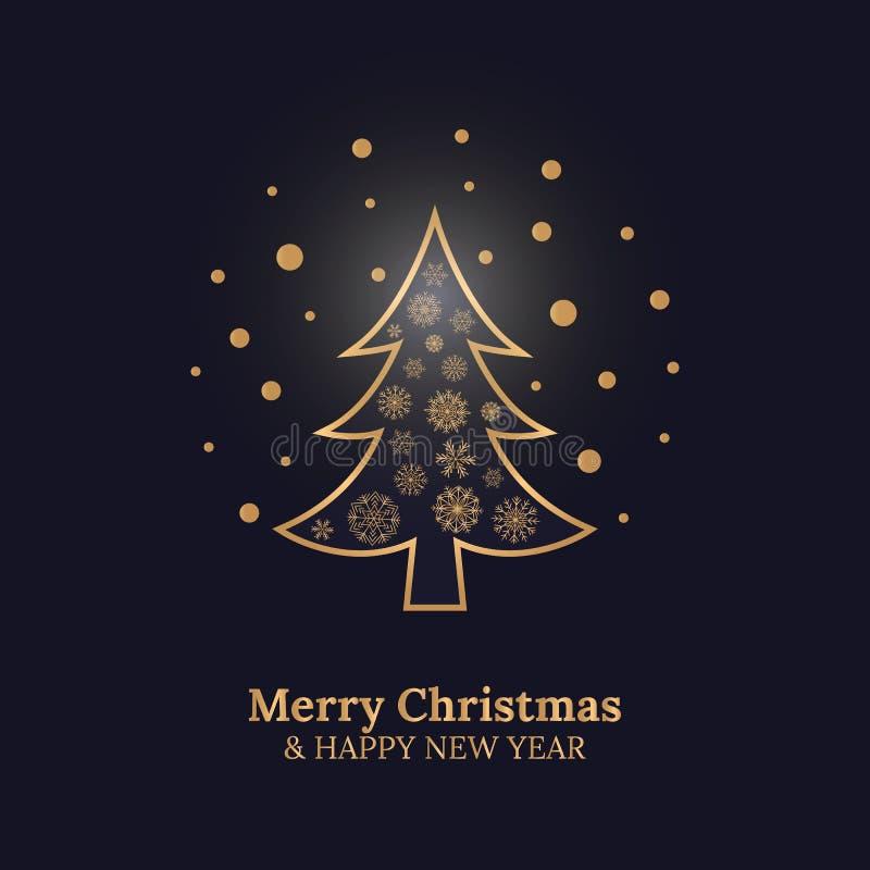 Kort för glad jul och för lyckligt nytt år med julgran- och guldsnöflingor på mörker - blå bakgrund royaltyfri illustrationer