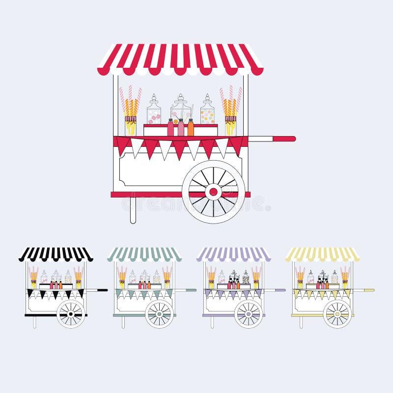 Kort för godisvagnsmarknad Sale av sötsaker och godisar på gatan också vektor för coreldrawillustration stock illustrationer