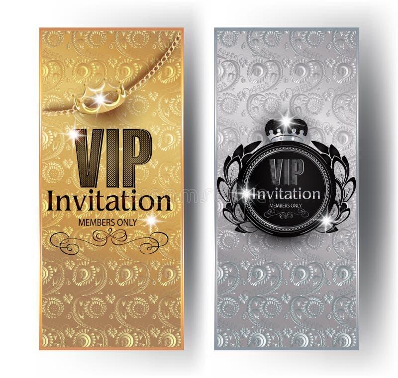 Kort för guld- och silverstorgubbeinbjudan med bakgrund för blom- design, kronor och tappningramar vektor illustrationer