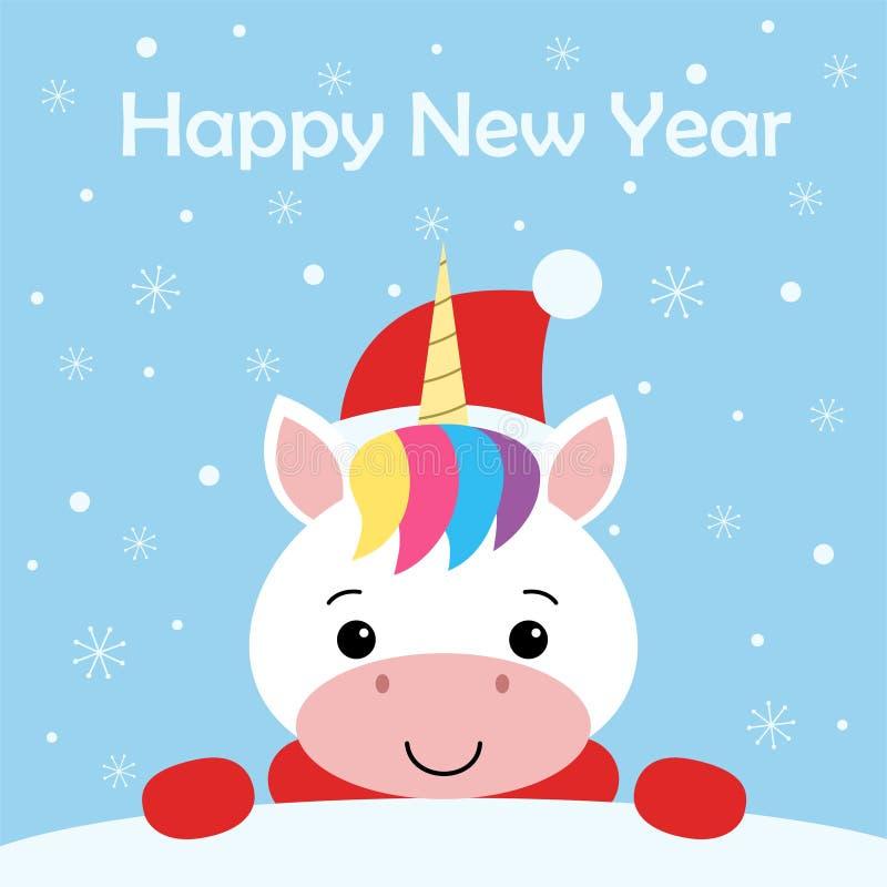 Kort för gullig nytt års- eller julhälsning med den gulliga enhörningen, jultomten hatt, halsduken och snö på blå bakgrund cartoo royaltyfri illustrationer