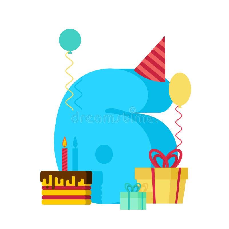 kort för hälsning 6 år för lycklig födelsedag 6th årsdagberöm royaltyfri illustrationer