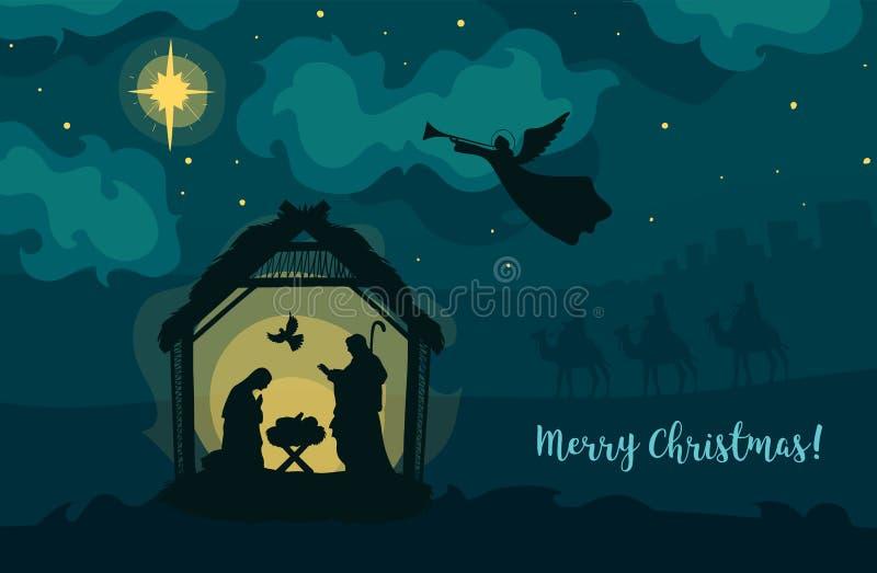 Kort för hälsning av traditionell kristen jultomatitism - en scen av bebisen Jesus i manern med Mary och Joseph royaltyfri illustrationer