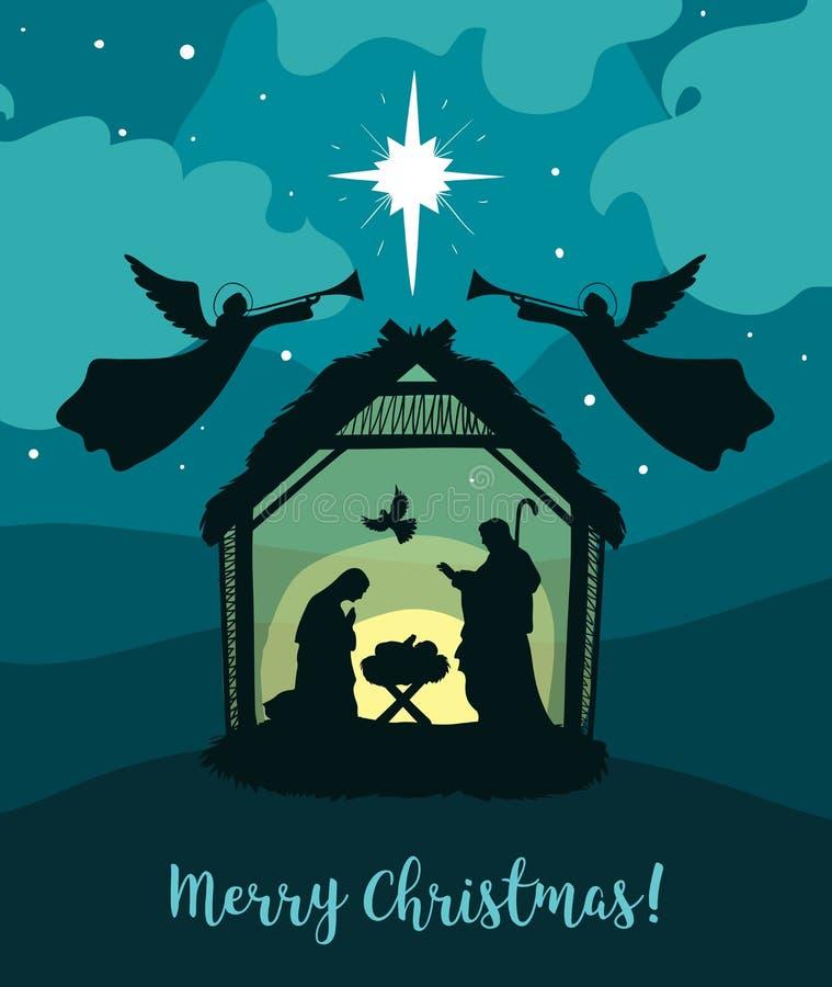 Kort för hälsning av traditionell kristen jultomatitism - en scen av bebisen Jesus i manern med Mary och Joseph vektor illustrationer