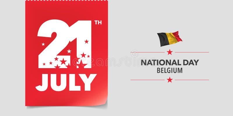Kort för hälsning Belgien lyckligt för nationell dag, baner, vektorillustration royaltyfri illustrationer