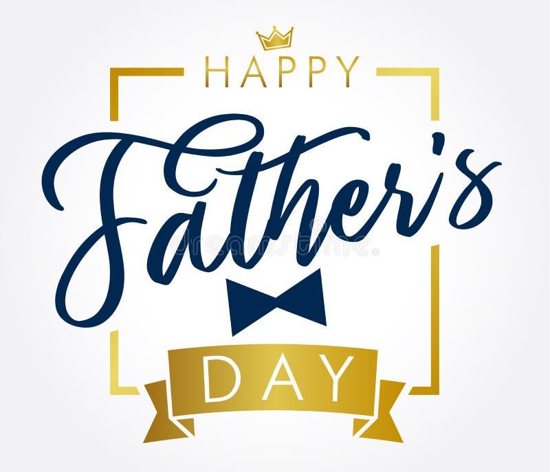 Kort för hälsning för bokstäver för lycklig dag för fader` s guld- stock illustrationer