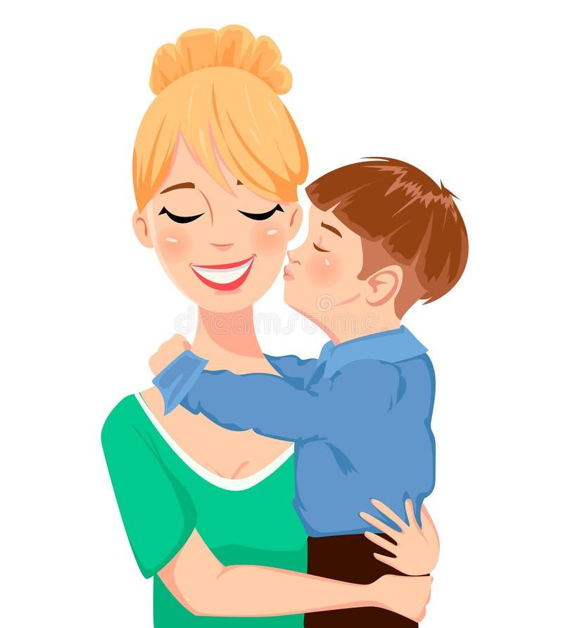 Kort för hälsning för dag för moder` s Barn som kramar och kysser hans härliga mamma royaltyfri illustrationer