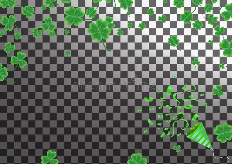 Kort för hälsning för dag för St Patrick ` s med den mousserade gröna växt av släktet Trifoliumbetesmarken vektor illustrationer