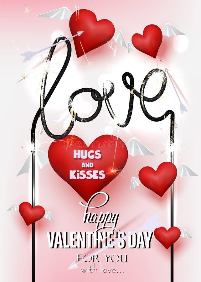 Kort för hälsning för dag för valentin` s med röda hjärtor med det wingsmpilar och tomteblosset vektor illustrationer