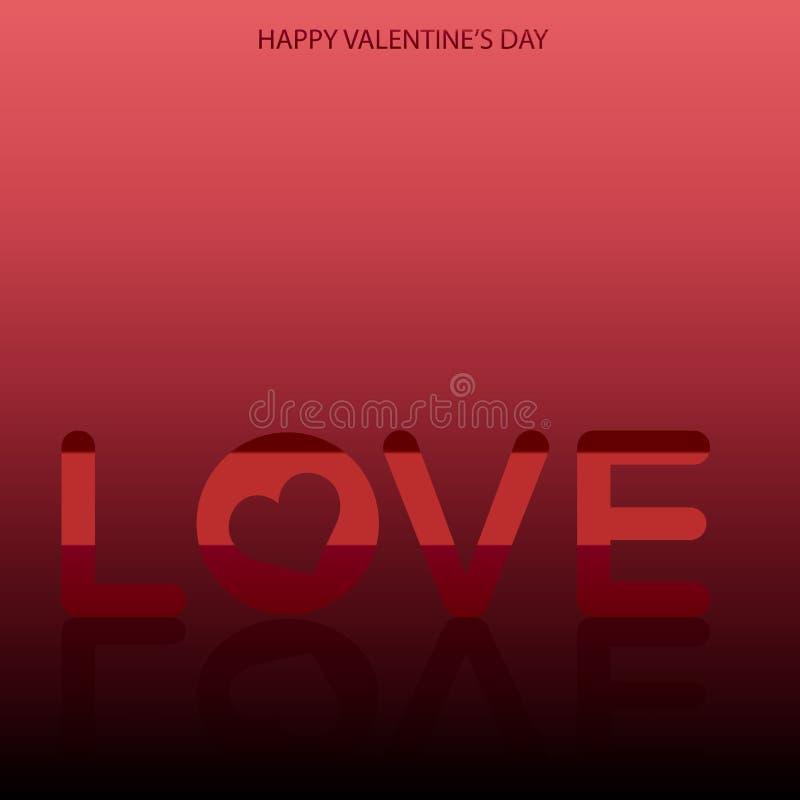Kort för hälsning för dag för valentin` s med textförälskelse på röd bakgrund och hjärta vektor stock illustrationer