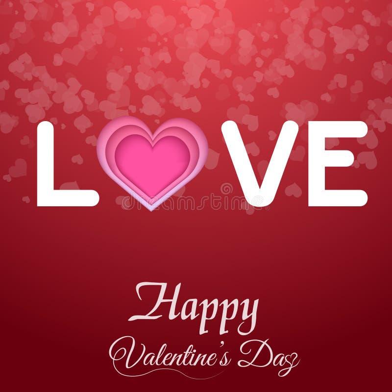 Kort för hälsning för dag för valentin` s med textförälskelse på röd bakgrund och hjärta vektor royaltyfri illustrationer
