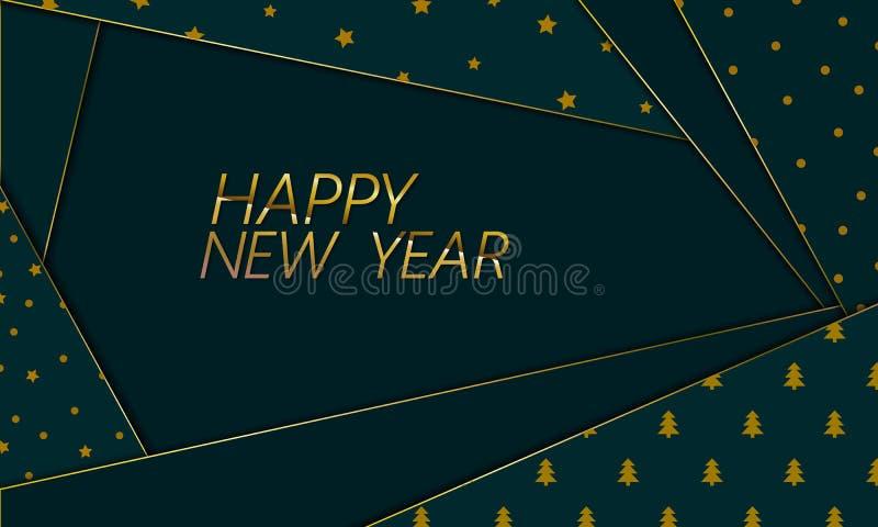 Kort för hälsning för dokument med olika förslag för nytt år materiellt Julgran för tapet för garnering för textur för snitt för  stock illustrationer