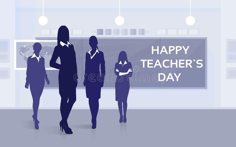 Kort för hälsning för bräde för grupp för material för lärareDay Holiday Silhouette kvinna royaltyfri illustrationer