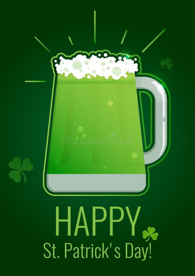 Kort för hälsning för dag för St Patrick ` s med grönt öl på mörk bakgrund med treklövern royaltyfri illustrationer