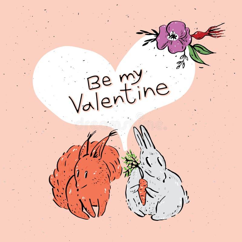 Kort för hälsning för dag för St-valentin` s stock illustrationer