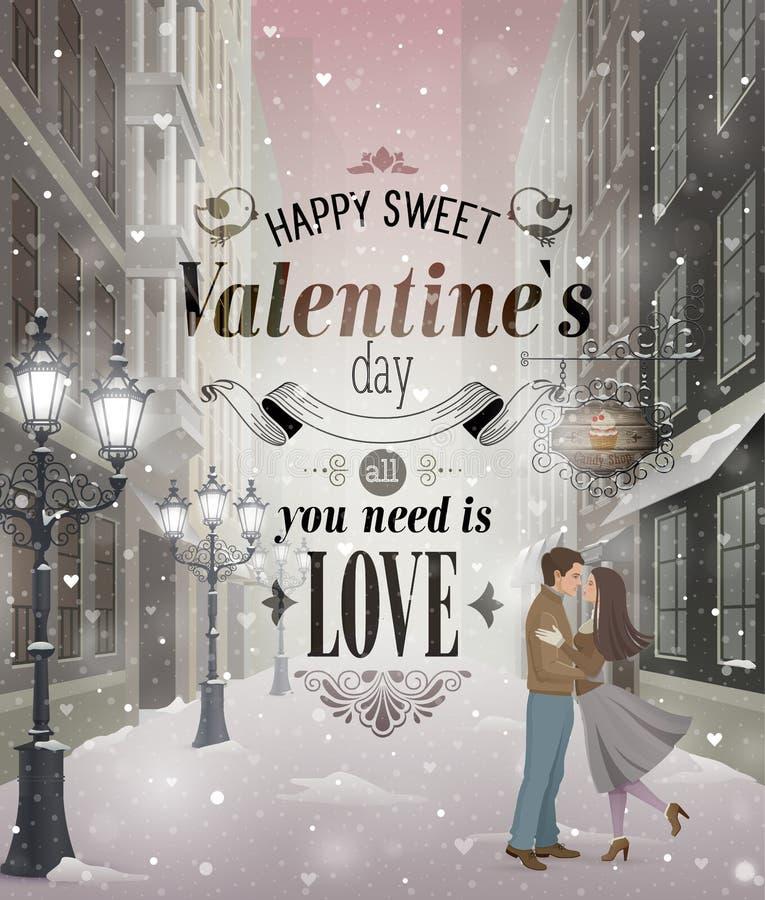 Kort för hälsning för dag för valentin` s stock illustrationer