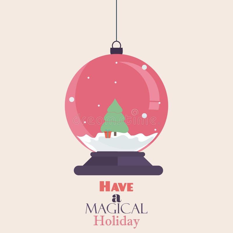 Kort för hälsning för design för bokstäver för typografi för tappning för glad jul Retro på enkel bakgrund Plant julsnöjordklot vektor illustrationer