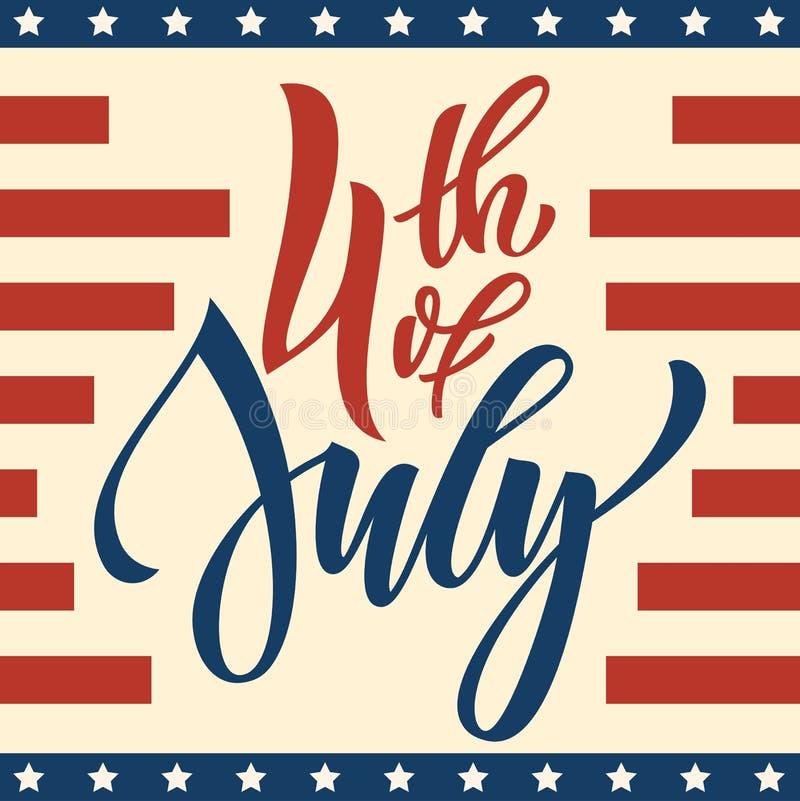 4 kort för hälsning för Juli USA självständighetsdagenfyrverkerier vektor illustrationer