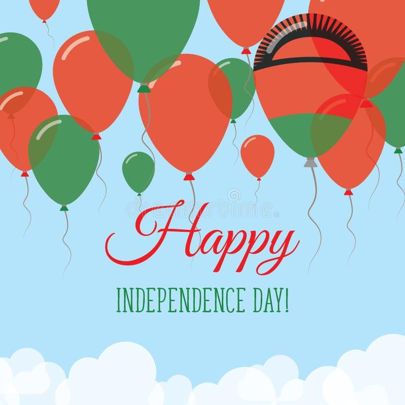Kort för hälsning för Malawi självständighetsdagenlägenhet stock illustrationer