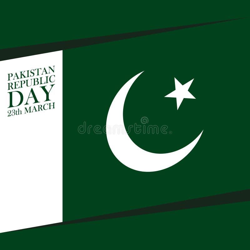 Kort för hälsning för marsch för Pakistan upplösningsdag 23 stock illustrationer