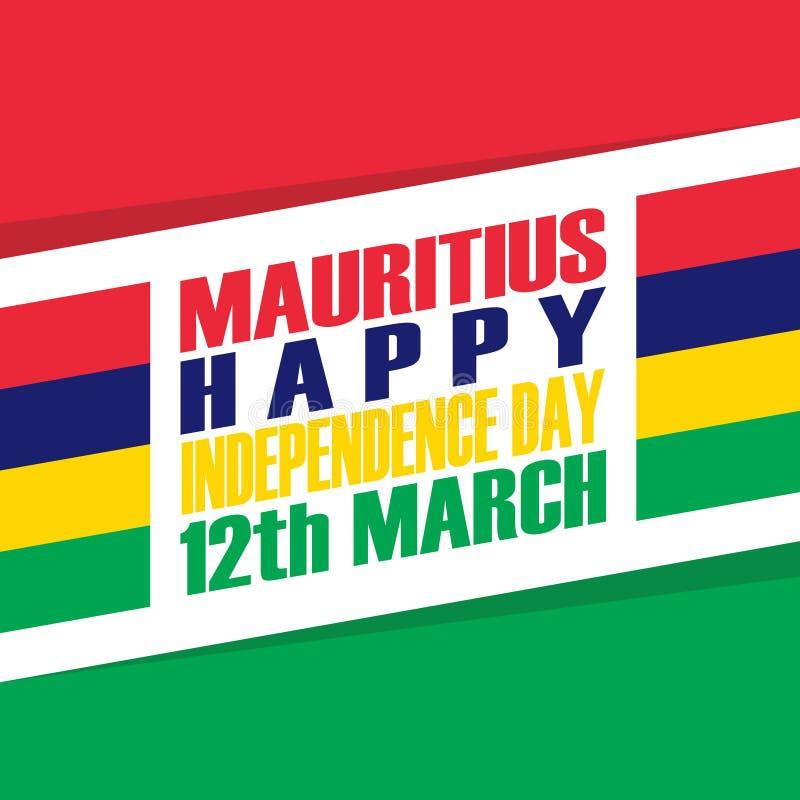 Kort för hälsning för Mauritius Happy Independence Day 12 marsch royaltyfri illustrationer