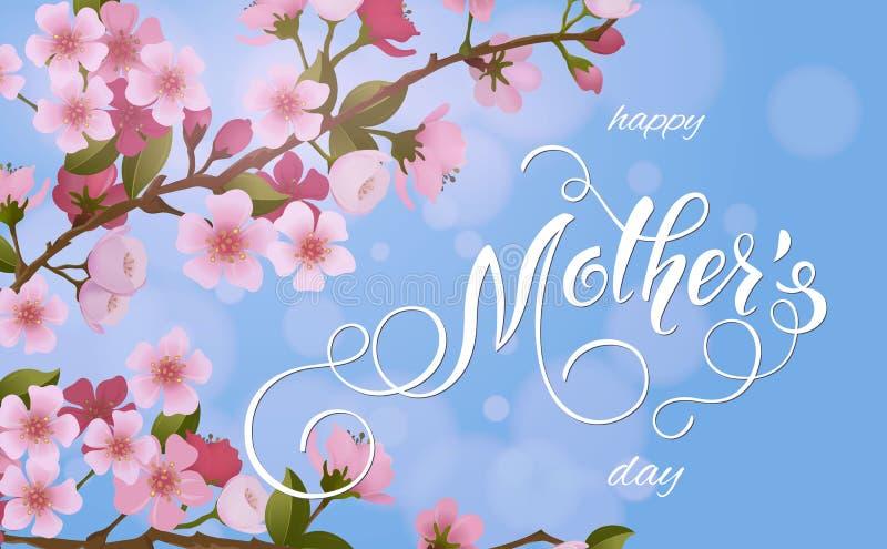 kort för hälsning för moderdag Blomningträdbakgrund, vårferier stock illustrationer