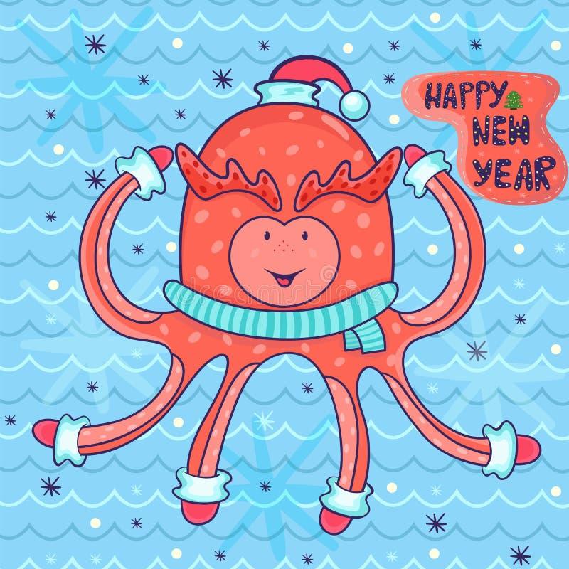 Kort för hälsning för nytt år för vektor i barnslig stil lycklig bläckfisk I royaltyfri illustrationer