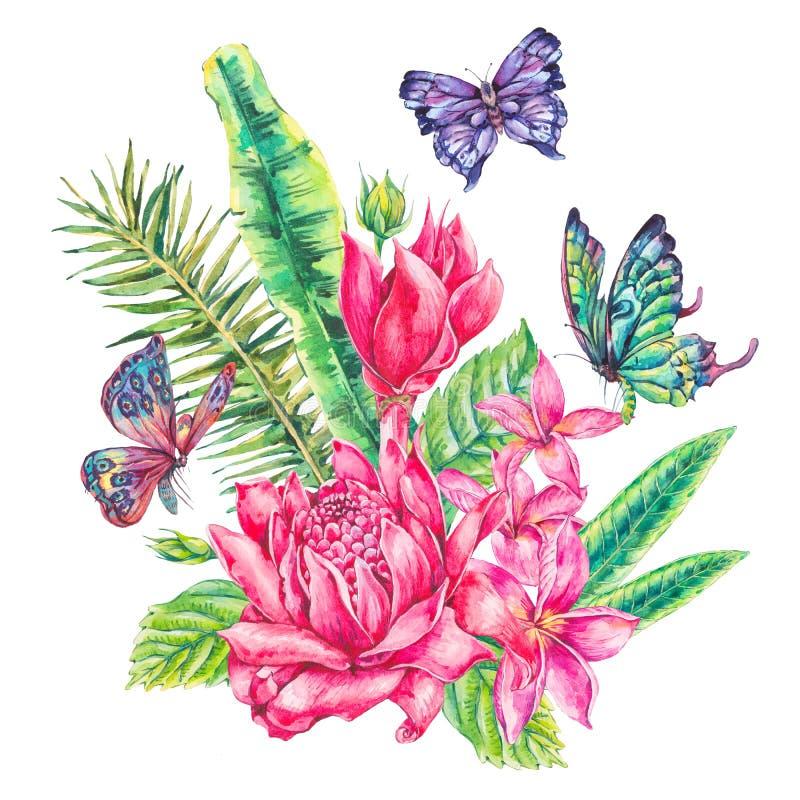 Kort för hälsning för vattenfärgtappning blom- tropiskt royaltyfri illustrationer