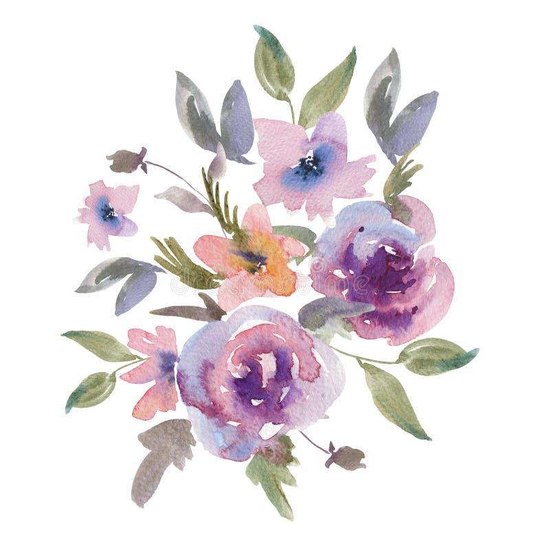 Kort för hälsning för försiktiga purpurfärgade vattenfärgrosor blom- royaltyfri illustrationer