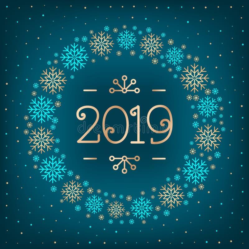kort för hälsning för ferie för lyckligt nytt år för julkort för text 2019 2019 nummer, krans av snöflingor, elegant mörk turkos vektor illustrationer