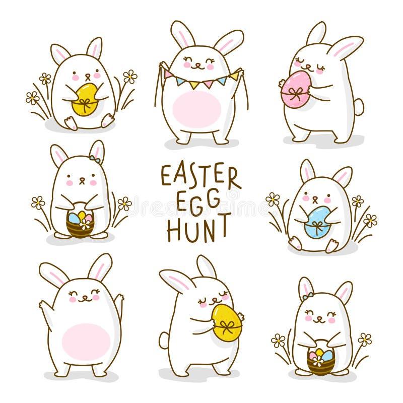 Kort för hälsning för jakt för påskägg med kaniner vektor illustrationer