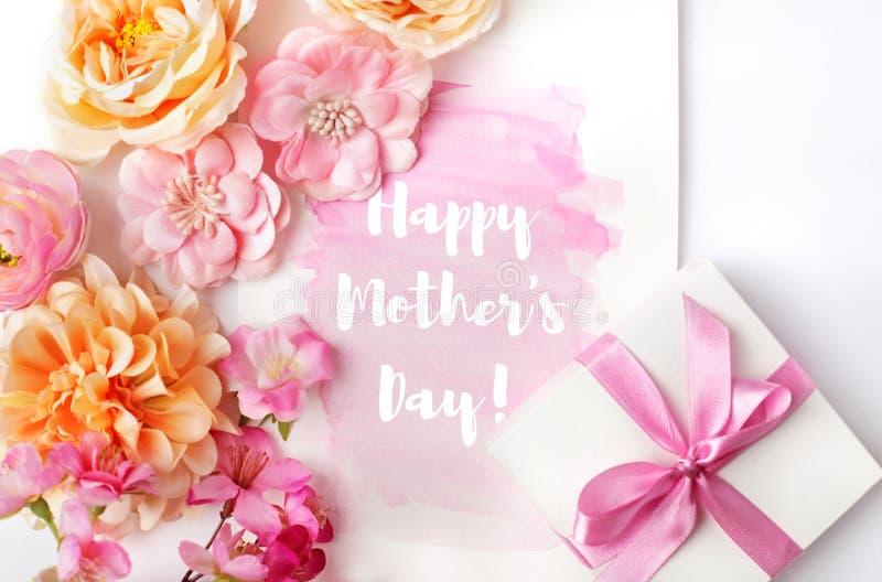 Kort för hälsning för moderdag med blommor royaltyfri illustrationer