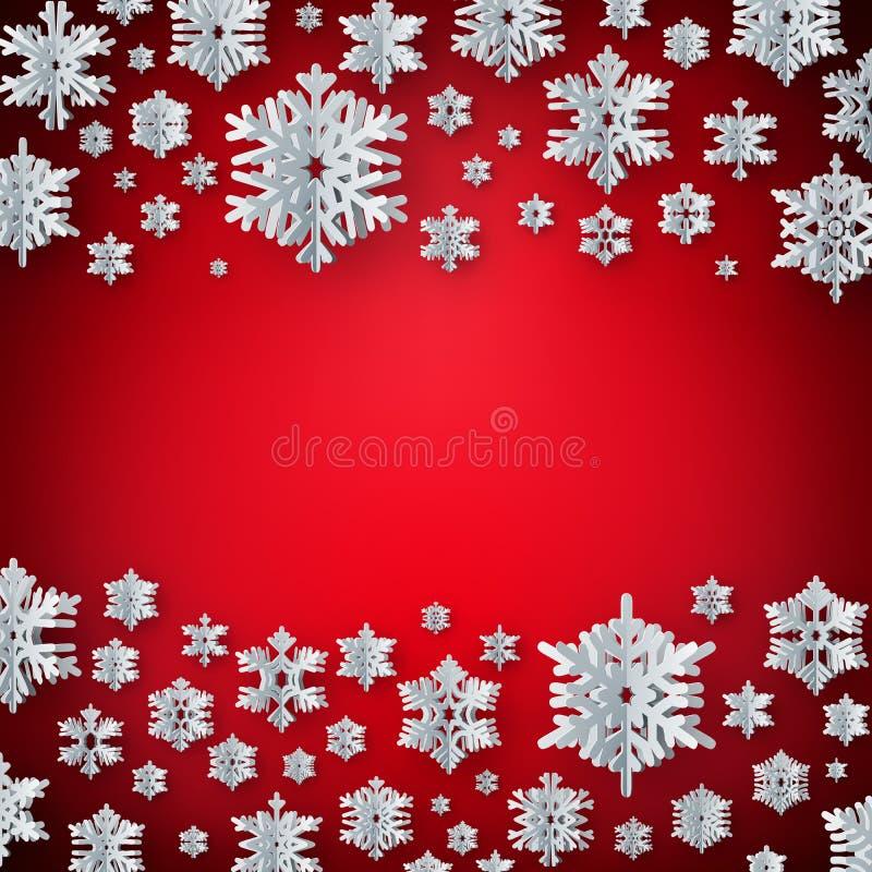 Kort för hälsning för nytt år för jul med pappers- texturerade snöflingor på röd bakgrund 10 eps stock illustrationer